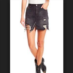 NWT Free People Black Denim Distressed Skirt